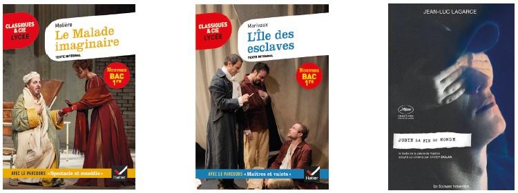 Molière, Le Malade imaginaire - Marivaux, L'île des esclaves - Lagarce, Juste la fin du monde